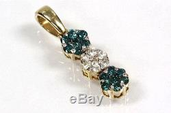 0.25 ctw Natural Blue & White Diamond Solid 14k Yellow Gold 3 Flowers Pendant