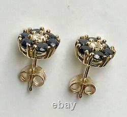 10KT Yellow Gold Flower Studs Earrings with genuine dark blue and white sapphire