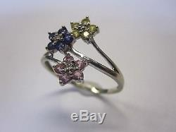 10k White Gold Diamond Centered Accents Flower Ring withPink, Blue & Yellow Topaz