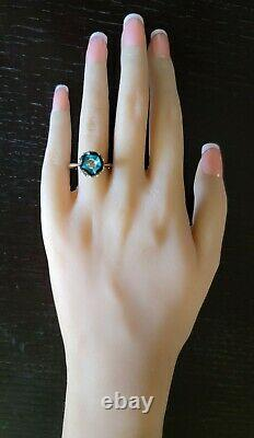 14K White Gold Galatea Diamond Carved Pearl Turquoise Ring-Estate Jewelry 5.1gm