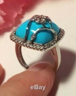 14K White Gold Turquoise and Diamonds Halo Ring Flower Openwork Size 8