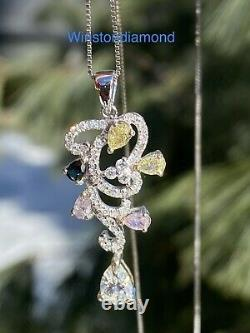 14k White Gold 1.5ctw Pink, Yellow, Blue, White Natural Pear Diamond Necklace
