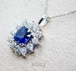 14k White Gold High End Aaa 1.50ct Blue Sapphire Diamond Flower Pendant Necklace