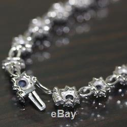 14k White Gold natural Blue Sapphire Floral Flower Link Chain tennis bracelet
