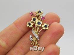 14k Yellow White Gold Round Blue Sapphire Red Ruby Diamond Flower Brooch Pin