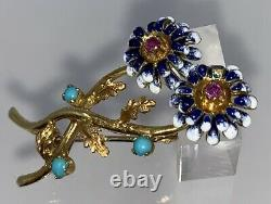 18k Gold and Blue and White Enamel Flower Pin Brooch with Pink Tourmaline Center