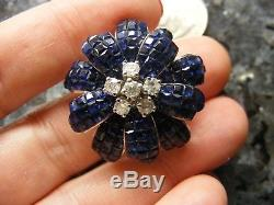 18k White Gold Princess Invisible Set Blue Sapphire Diamond Flower Cocktail Ring