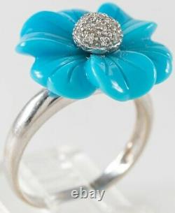 18k White Gold, Robins Egg Turquoise and Diamond Flower Ring Size 7.5