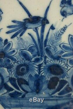 18th Delft Blue & White Dutch Porcelain Plate Handpainted Bird & Flowers Signed