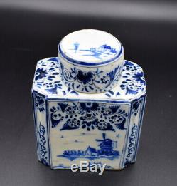 18thc Tea Caddy Antique Delft Faience Blue White Tea Caddy Painted Blue Flowers