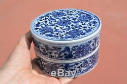 1900's Chinese Blue & White Porcelain Scholar Ink Box with Flowers