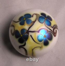 1975 Orient & Flume Art Glass White Paperweight WithBlue Iridescent Flowers Signed