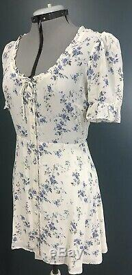 $198 REFORMATION Page Dress 8 White Blue Gold Mini Ruffle Top Madeline Floral M