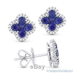 1.20 ct Blue Sapphire Cluster & Diamond Pave 14k White Gold Flower Stud Earrings