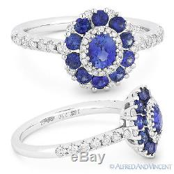1.41ct Blue Sapphire Diamond Pave Cluster 18k White Gold Right-Hand Flower Ring