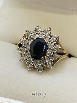 1.80ct Australian Sapphire & Diamond Flower Shaped Cluster Ring. Vaued at $4,500