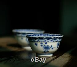 1pc China old Porcelain blue white hand painting flower Butterfly tea cup bowl