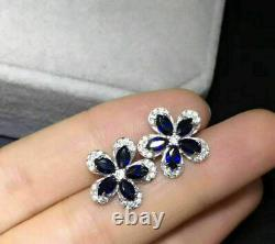 2Ct Marquise Cut Blue Sapphire Flower Halo Stud Earrings 14K White Gold Finish