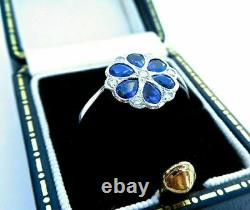 2Ct Pear Blue Sapphire Flower Shaped Women's Engagement Ring 14K White Gold Over