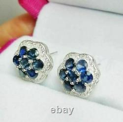 2Ct Round Gorgeous Cut Blue Sapphire Flower Stud Earrings 14K White Gold Finish