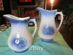 2 Antique Blue & White Stoneware Pottery Large & Med Pitcher Flowers Floral