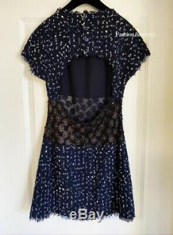 $4000 Chanel 11c Navy Blue White Flower Embellished Tweed Mini Dress 40
