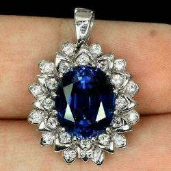 4Ct Oval Cut Blue Sapphire Halo Flower Pendant 14K White Gold Finish Free Chain