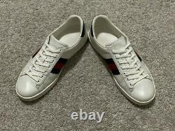 $590 Gucci Ace White Blue Leather Sneakers Snakeskin Supreme UK9 US10