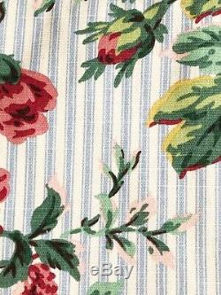 6 VINTAGE COUNTRY FLORAL With BLUE WHITE TICKING REVERSABLE CURTAINS DRAPES 41x85