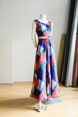 70s Floral Maxi Dress Poppy Flowers Red Blue White Summer Garden Party