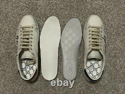 $790 Gucci Ace Blade White Green Red Leather Sneakers Supreme UK9 US9.5-10
