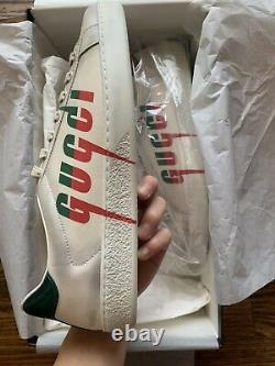 $790 Gucci Ace Blade White Green Red Leather Sneakers UK9 US9.5