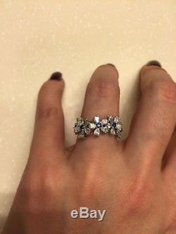 925 Sterling Silver Cz Blue Round White Pear Flower Style Band Ring Party Gift