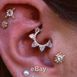 925 sterling silver Conch Helix piercing Earrings White Flower blue Tragus Studs