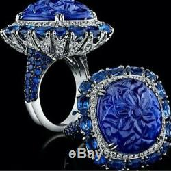 925 sterling silver Cz Blue Round White Flower Design Cocktail Party Ring Gift