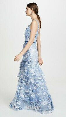 $995 NEW Marchesa Notte Tulle Printed Tiered Gown Blue Embroidered Dress 6 14