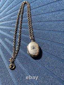 9ct Yellow Gold White And Blue Stone With Pearl Flower Locket