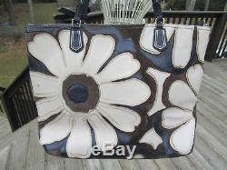 9e/coach 25071 Poppy Elevated Flower/brown/blue/white/suede/leather/tote/rare