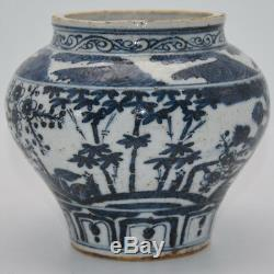 A112 Great Chinese Porcelain Pot Blue And White Old Jar Round Can Flowers Bottle
