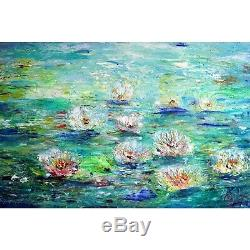 ABSTRACT WATER LILIES After Rain Flowers Impasto Oil Painting Blue Green White