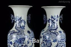 A Pair Chinese Beautiful Blue and White Porcelain Dragon and Flowers Vases