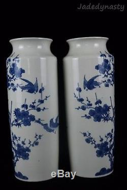 A Pair Chinese Beautiful Blue and White Porcelain Flower and Bird Vases