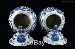 A Pair Chinese Beautiful Blue and White Porcelain Flowers and Foo Dogs Jars