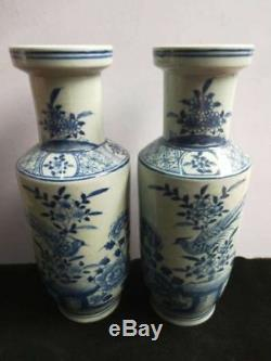 A Pair of Chinese Blue & White Porcelain Vases Birds And Flowers Patterns