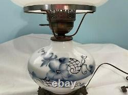 Accurate Casting Inc Vintage Hurricane Lamp Milk Glass with Blue Flowers