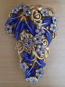Alferd Philippe Trifari Blue Leafs White & Red Rhinestones Flower Dress/Fur Clip