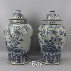 Ancient jar a pair of blue and white porcelain painting of flowers and birds