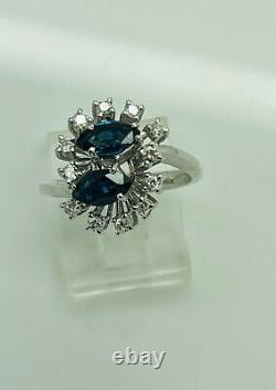 Antique 14Kt White Gold Sapphire Ring Size 7