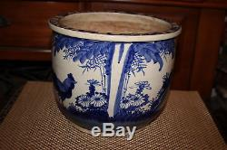 Antique Chinese Blue & White Pottery Planter Fish Bowl-Rooster Flowers Trees