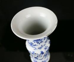 Antique Chinese Porcelain Gu Vase Blue and White Birds & Flowers